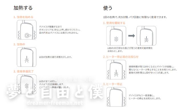 プルームエックスの「LED表示パターン」解説-加熱中・使用中のLED表示